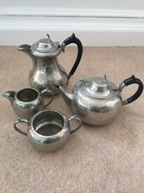 Antique English Hand hammered Pewter coffee, tea, sugar bowl and milk jug