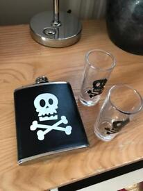 Hip flask and shot glasses new