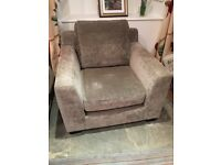 Grey / taupe corner sofa and matching chair