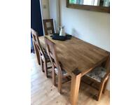 Oak wooden table and 6x chairs