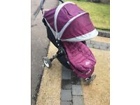 Baby Jogger City Mini Buggy purple with footmuff