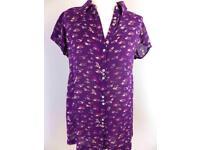*** WHITE STUFF Purple Bird Shirt- Size 8 - Brand New ***