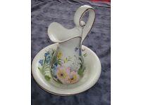 ceramic tall jug & bowl