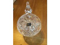 Brand new Lausitzer Glass hand cut lead crystal bon bon jar