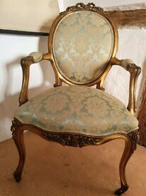 The French Bedroom Company mahogany'Versailles Damask Gold Seat'. Perfect condition.