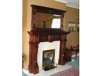 Mahogany fireplace with marble hearth and insert complete with gas fire (mirror can be negotiated)