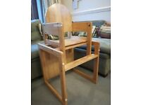 Mothercare Natural Wooden highchair that converts into Table and Chair