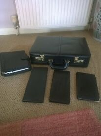 Leather Brief Case, Personal Organiser & 3 Business Card Holders
