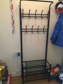 Metal Shoe Rack and Coat Hanger Shelf