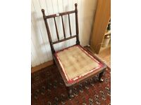 Antique chair , needs cushion - would be fab re-upholstery project .