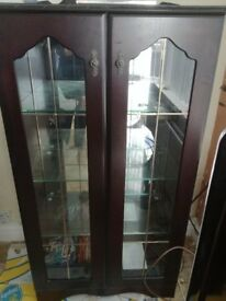 Glass door display unit with lights £100 CD unit £50 hifi cabinet £50 all good condition
