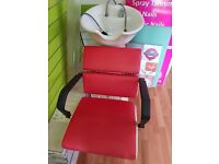 Retro salon chairs red/cream used some marks and two backwashes