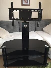 Black glass corner tv table / tv stand with mount