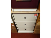 Kensington 3 drawer bedside - Oak and Grey