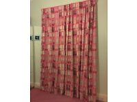 Long drop thermal/blackout lined pink curtains (287cm)
