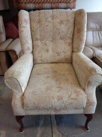 Wing Back Chair in Beige Fabric. Good Condition
