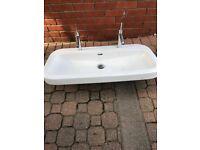 Laufen palomba double wash basin 2x axor hansgrohe stark taps luxury item bathroom
