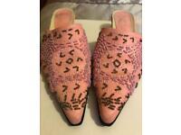 Pink backless slip on shoe