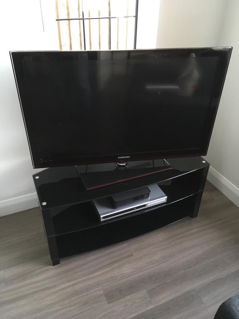 TV Stand Modern Black Glass