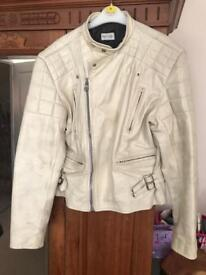 Paul Smith White Leather Bikers Jacket