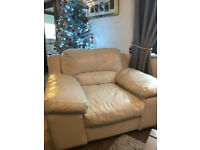 3 seater and 1 seater cream leather sofa