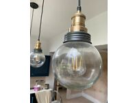 Brand new globe pendant lights grey & brass - set of 3