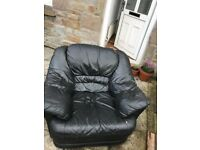 Black leather armchair free
