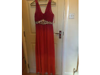 DIAMOND BY JULIEN MACDONALD LONG MAXI DESIGNER DRESS SIZE 10 RED PINK ORANGE NEW