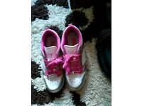 Pink and white trainers from America size 6