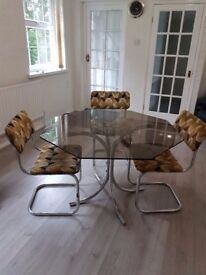 GLASS and CHROME DINING TABLE SET