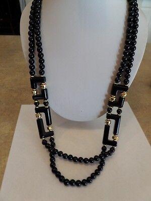 Vintage Long Black and Gold Plastic Necklace D1