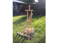 Wooden garden croquet set