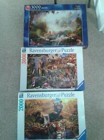 2 x 3000 piece Jigsaws and 1 x 2000 piece Jigsaws
