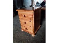 Pine 3 draw bedside cabinet with pine dressing table mirror