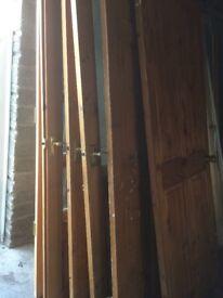 3 Pine doors + pair of pine double doors