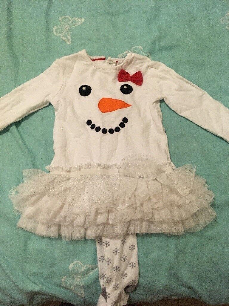 Snowman dress + tights set