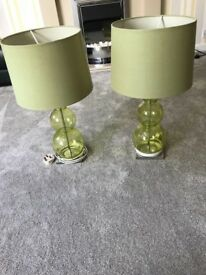 2 Next Green Glass Table Lamps, £15 For Both