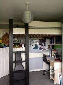 Single loft bed from Ikea.