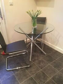 Round Glass Table & 2 Black / Chrome Chairs £50 ono