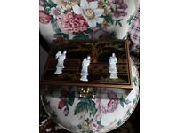 Oriental laquard mother of pearl jewellery box forsale