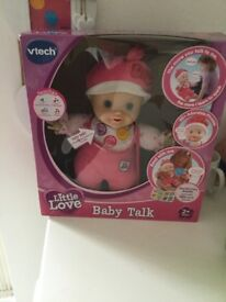 Vtech Baby Talk Love Doll and Vtech 3 in 1 pushchair as new in boxes