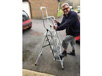 Ladder Steel Non Slip Tread Stepladder Safety Rail Handrail Foldable UK