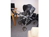Mamas and papas travel system, pram buggy moses basket and car seat in one with accessories