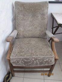 Two velveteen armchairs