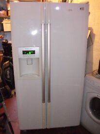 USED WHITE LG AMERICAN FRIDGE FREEZER,