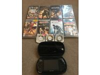 Sony PSP 3000 - 9 games - 2 films - Case & Charger
