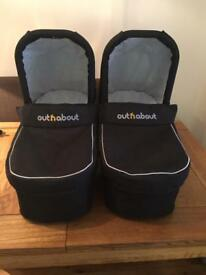 Out N About Double Nipper Carrycots plus adaptor