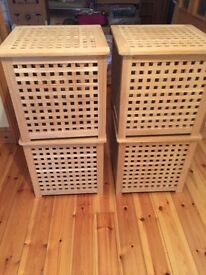 4 wooden storage boxes with removable lids