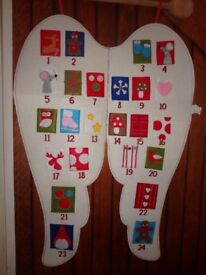 NEW GORGEOUS ANGEL WINGS ADVENT CALENDAR, 110CM TALL, WITH POCKETS