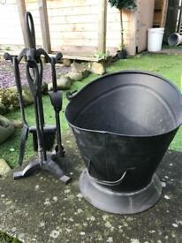 Black fireside set and coal scuttle